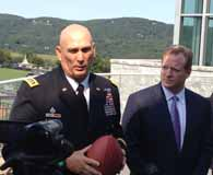 Photo of General Raymond Odierno, U.S. Army Chief of Staff, and NFL Commissioner Roger Goodell